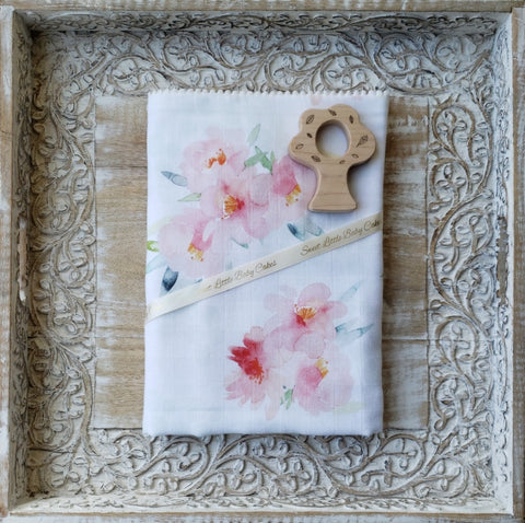 Double Gauze Blanket In Floral Bloom - Sweet Little Baby Cakes