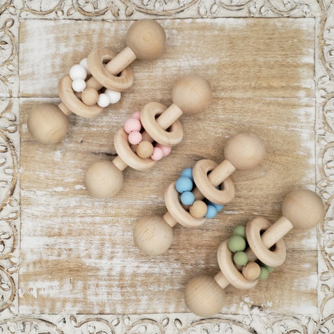 "The ""Totem"" Wood Rattle & Teething Ring Set"