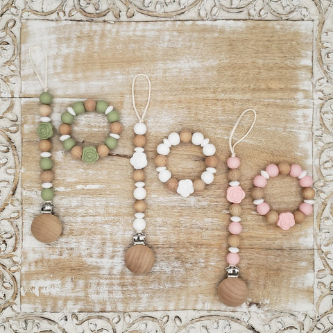 "The ""Lillie"" Pacifier Clip & Teething Ring Set"