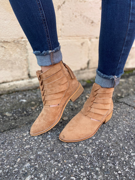 Tan Detailed Booties