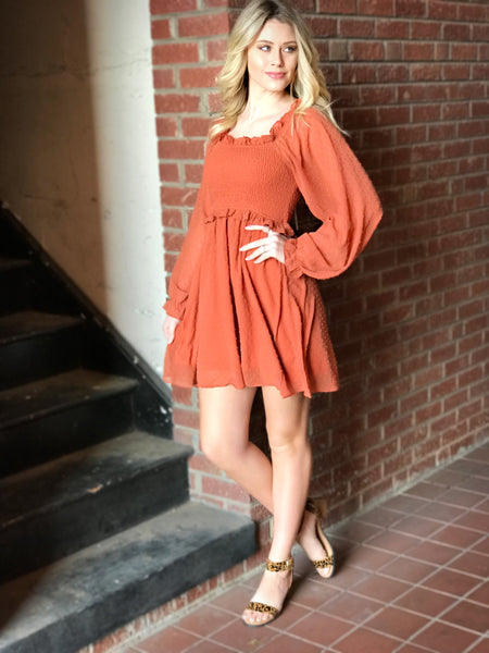 Rust Dotted Dress