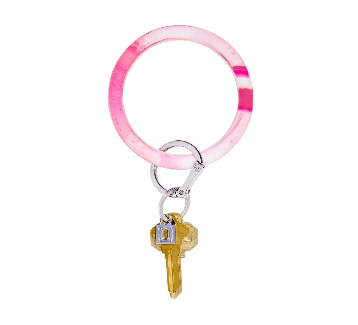 Silicone Key Ring - Tickled Pink Marble