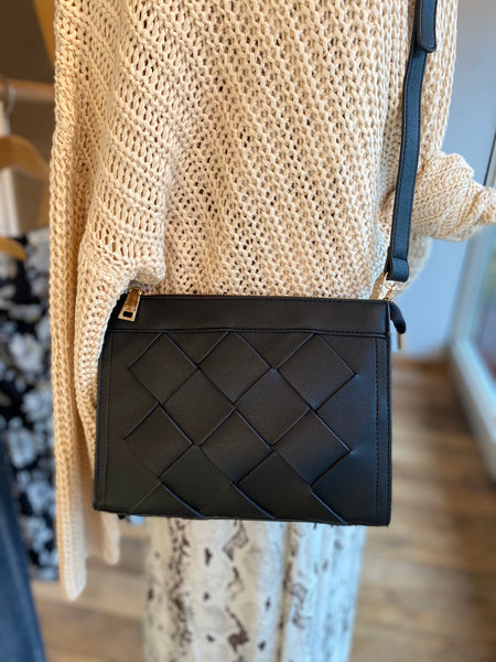 Black Quilted Crossover Purse