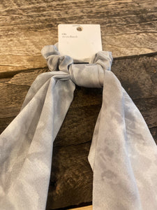 Hair Scrunchie with Ribbon, Grey