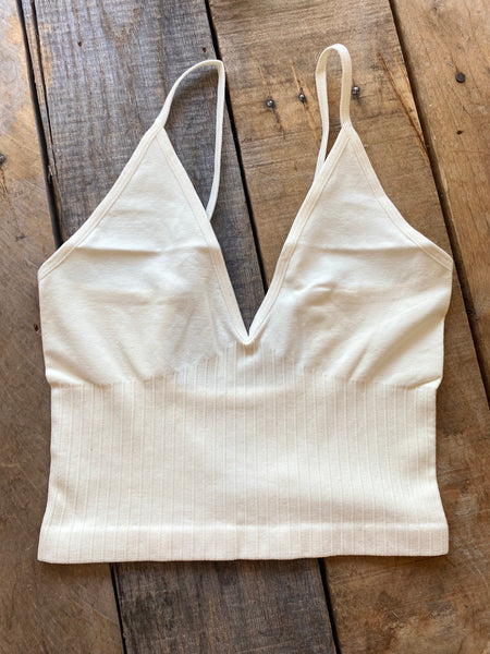 Ribbed Cropped Cami, off white
