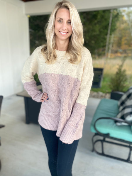 Two Color Knit Sweater