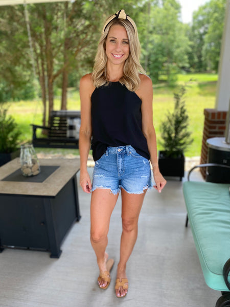 Simple and Sweet Black Halter Top