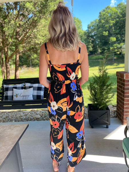 Black Flower Smocked Jumpsuit