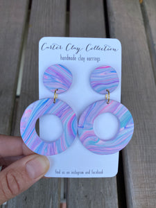 Purple Swirl Circle Earrings {CarterClay Collection}