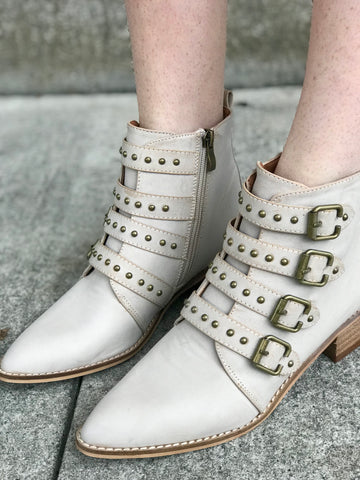 Ivory Buckle Booties