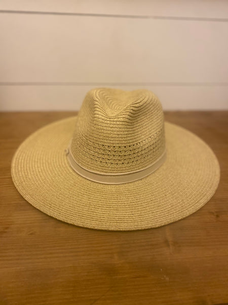 Two Toned Leather Strap Straw Hat