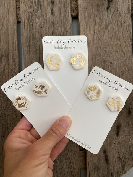 Gold Foil Studs {CarterClay collection}