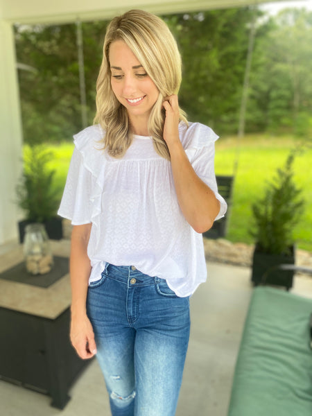White and Ruffles Top
