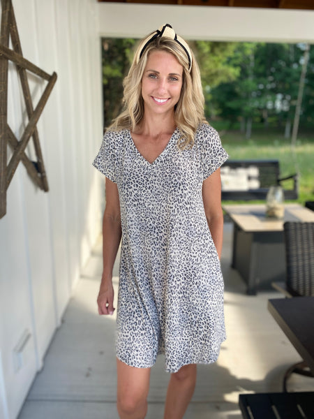Leopard V-Neck Jersey Dress