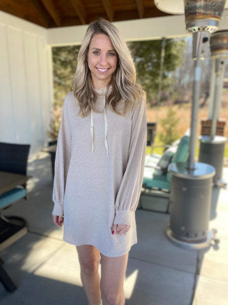 Taupe French Terry Hoodie Dress
