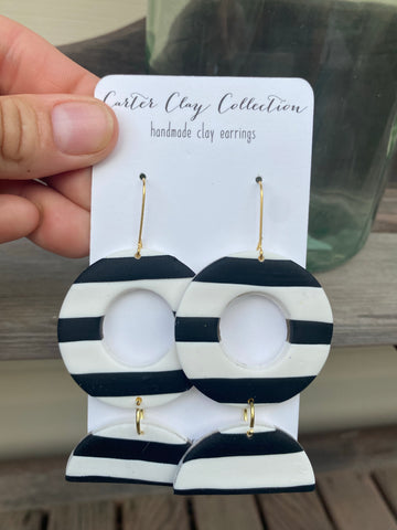 Black and White Striped Dangles {CarterClay Collection}