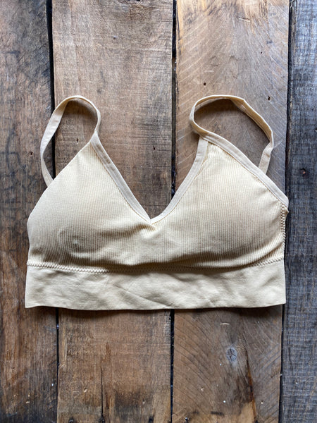 Ribbed Everday Bralette, Tan
