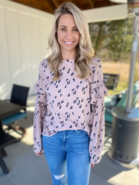 Pink and Black Soft Animal Print Top