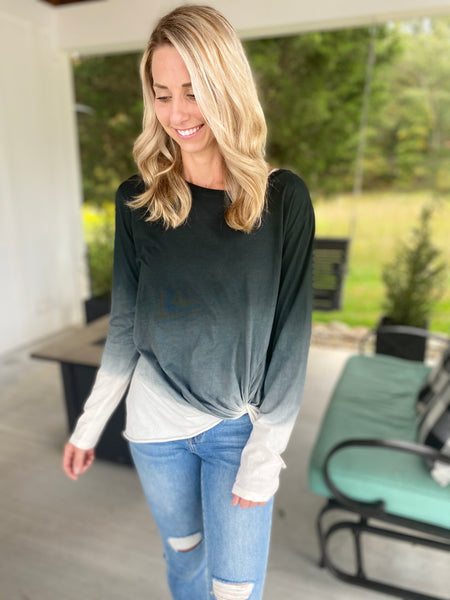 Black Faded Knot Top