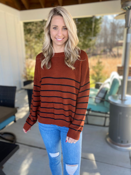 Rust and Black Ribbed Top