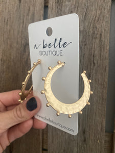 Hammered Crescent Hoop Earring