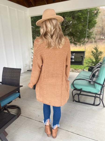 Soft, Open Front Knit Cardigan, Latte
