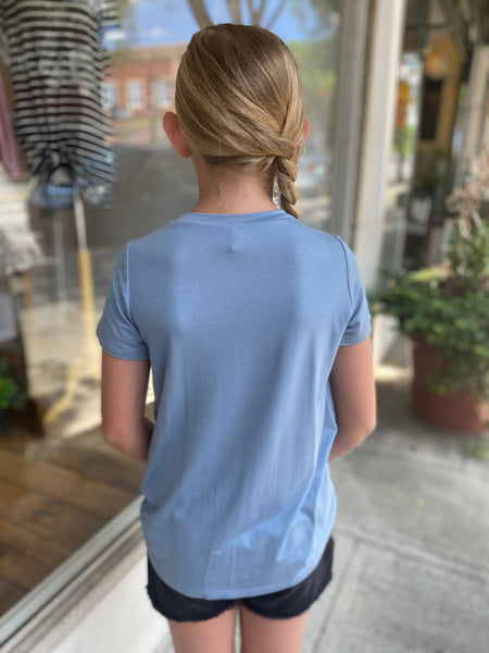 Knot in the Front Girls Top, Dusty Blue