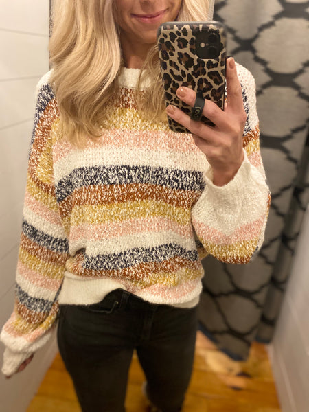 Multicolored Knit Fall Sweater