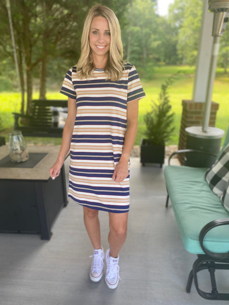 Navy Striped Everyday Dress