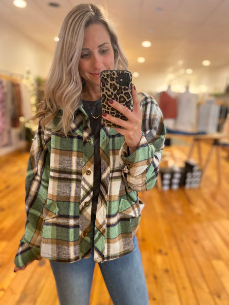 Green and Brown Flannel Top