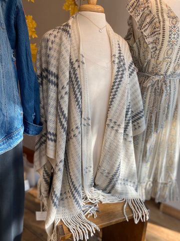 Striped Shawl Fringed Sweater