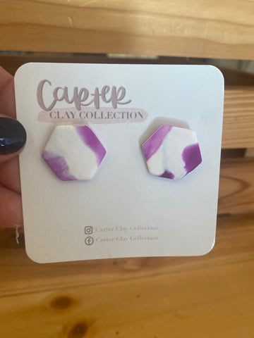 Purple and White Studs {CarterClay Earrings}
