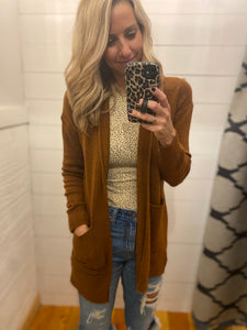 Hooded Knit Cardigan, Rust