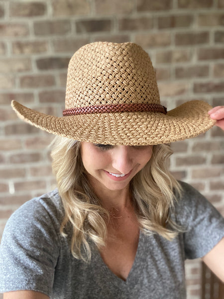 Woven Fedora with Bead Trim