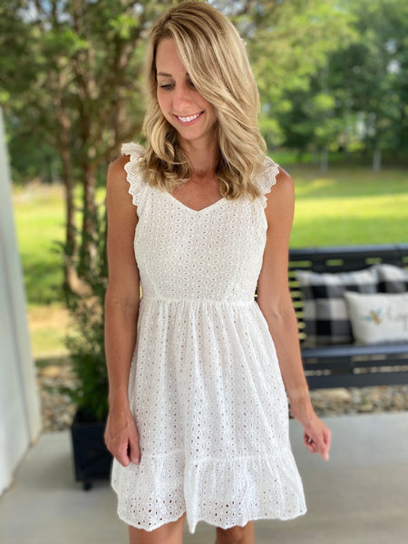 Eyelet White Ruffle Dress