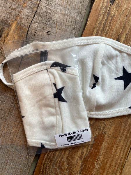Cotton Face Mask Stars, White