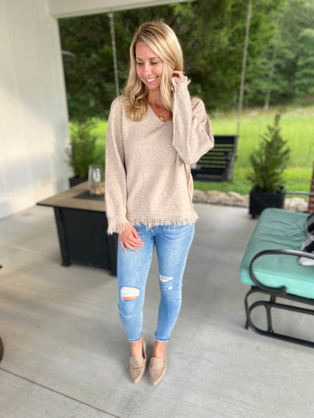 Taupe Fringe Sweater