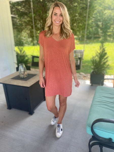 Rust Tee Shirt Dress