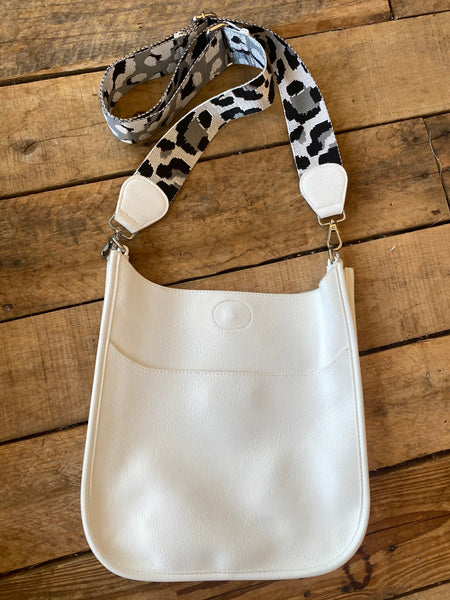 Large Vegan Messenger with Strap, White