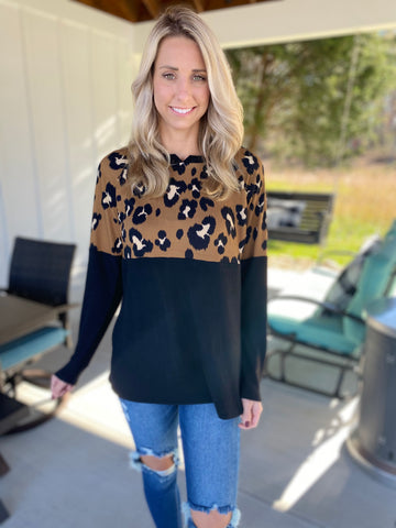 Leopard Contrast Long Sleeve Top