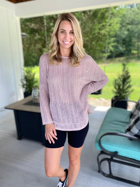 Dusty Pink Sheer Dolman Top