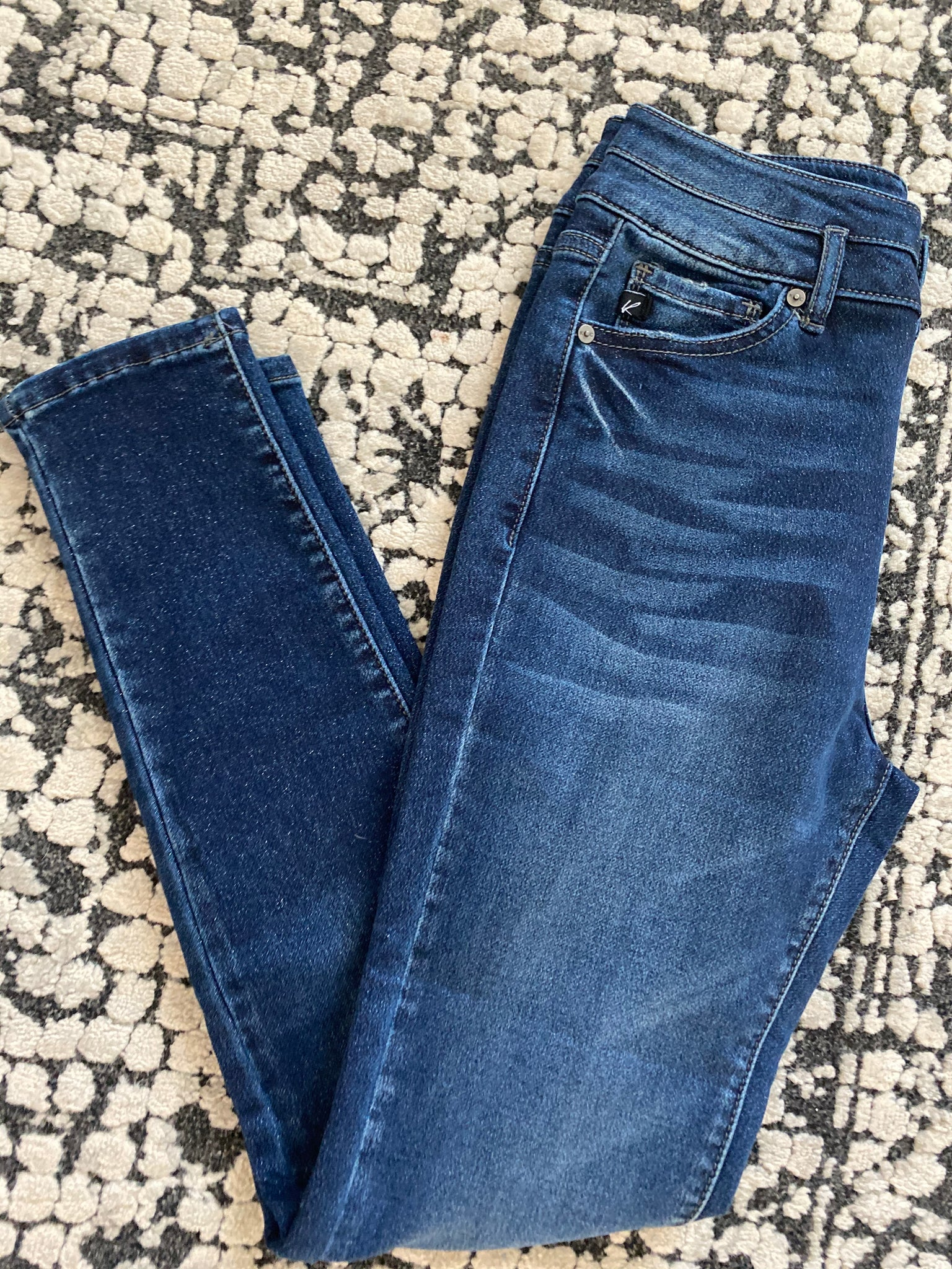High Rise Double Button Skinny Jeans