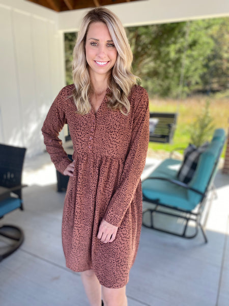 Button Down Leopard Dress