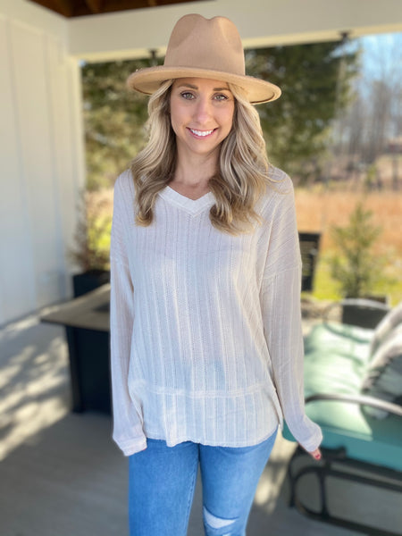 Taupe V-Neck Top