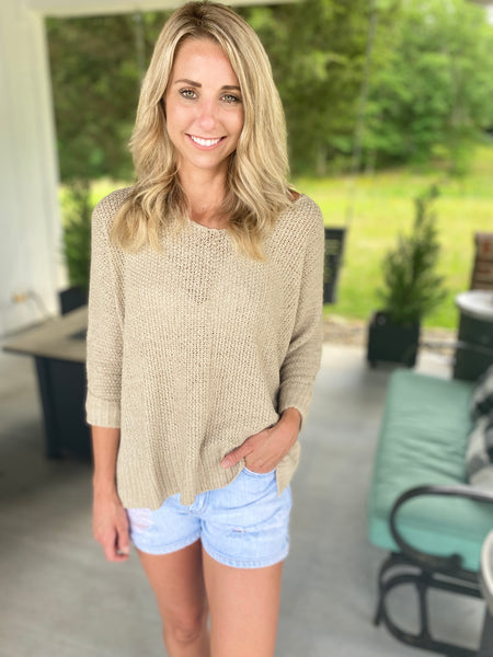 Chic Crew Neck Sweater, Oatmeal