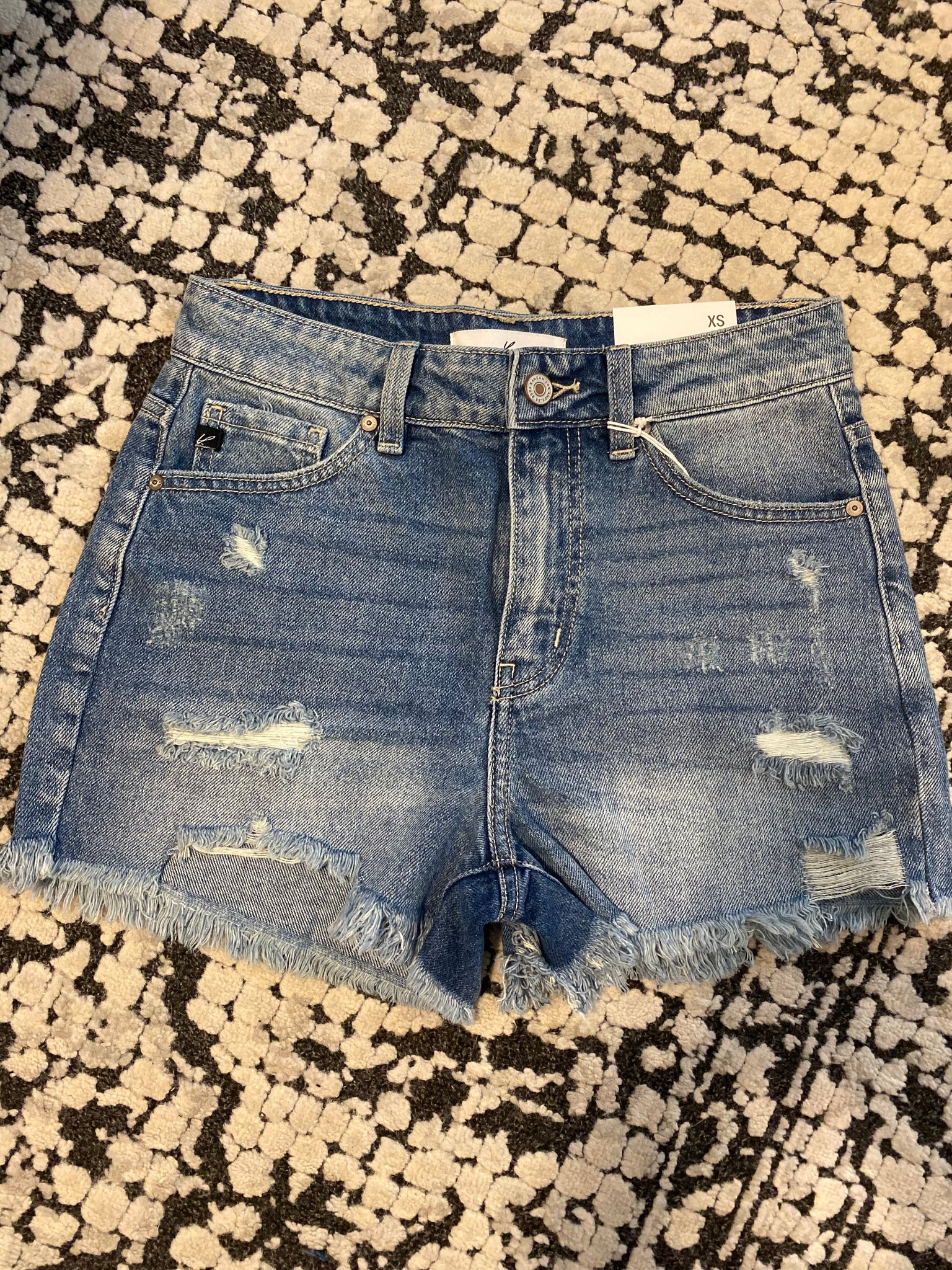High Rise Distressed Shorts