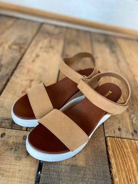 Ankle Strap Wedge Sandal, Tan