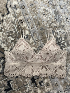 Crochet Lace Bralette, Light Taupe