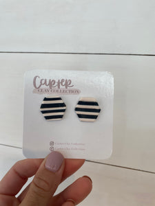 Black and White Striped Studs {Carter Clay Collection}}