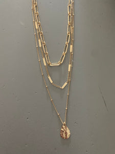 Three Row Chunky Chain Necklace